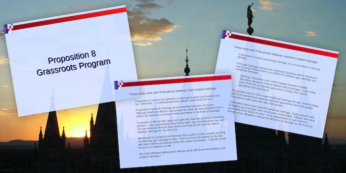 Prop 8 instructional slides over Mormon church background