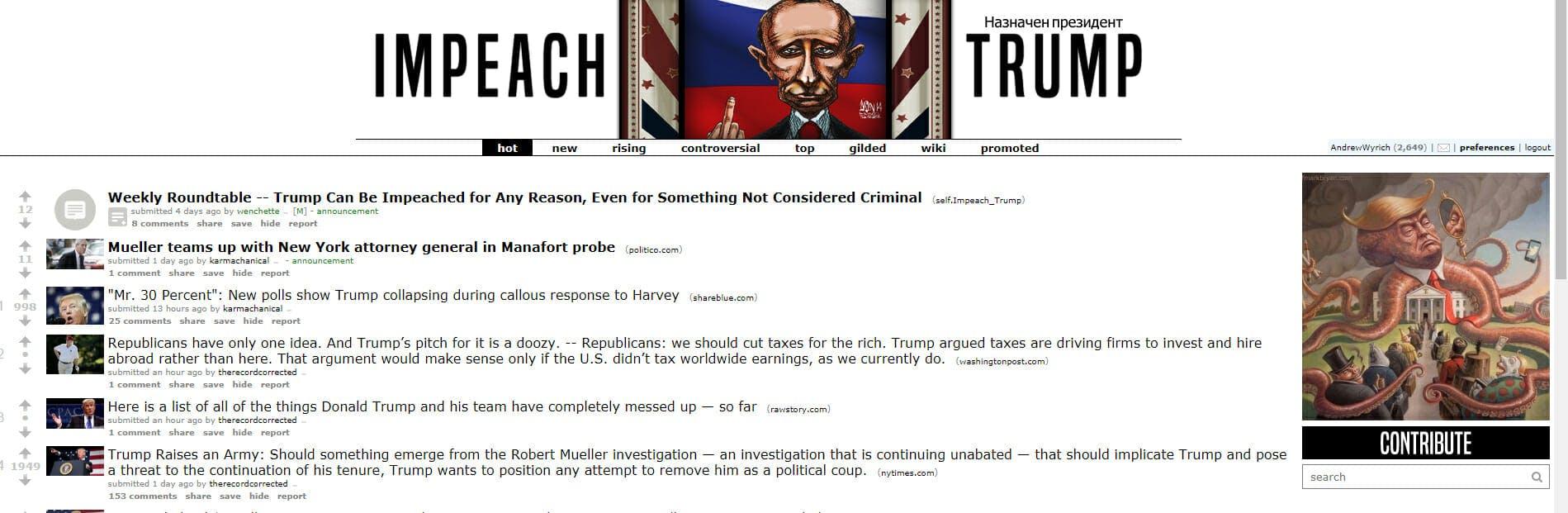 r/impeach_trump is a good subreddit for liberals.