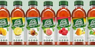 Long Island Iced Tea bottles in a row