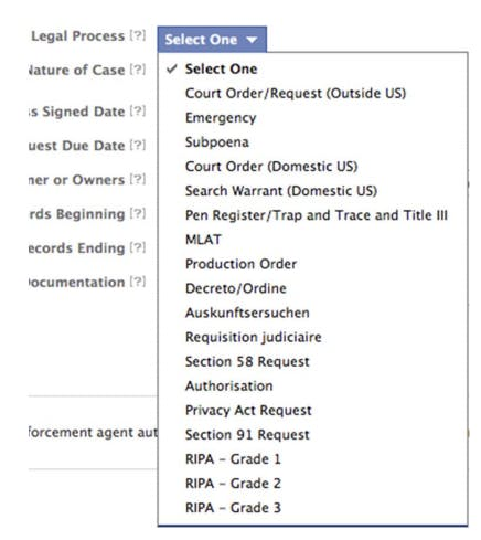 Screenshot from Facebook Law Enforcement Portal
