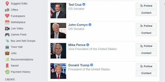 facebook town hall search contact politicians