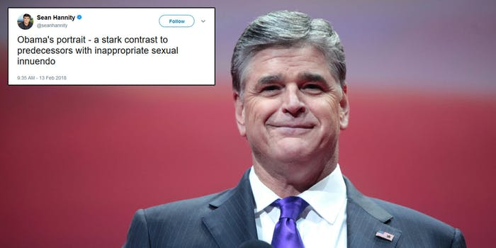 Fox News pundit Sean Hannity posted, then deleted, a tweet and blog post claiming there was 'secret sperm' in Obama's portrait released on Monday.
