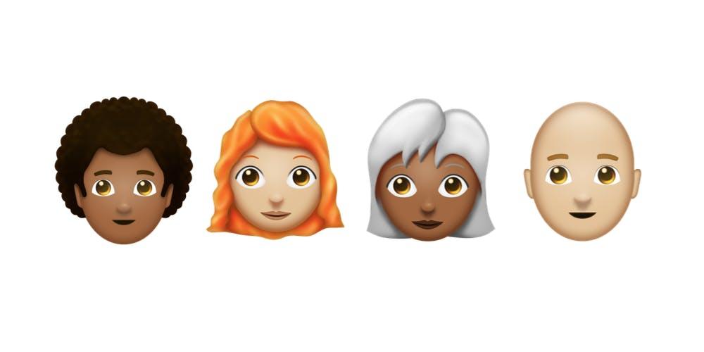 Redheaded emoji, Curly haired emoji, bald emoji, gray haired emoji