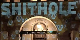 shithole projection on trump hotel in dc