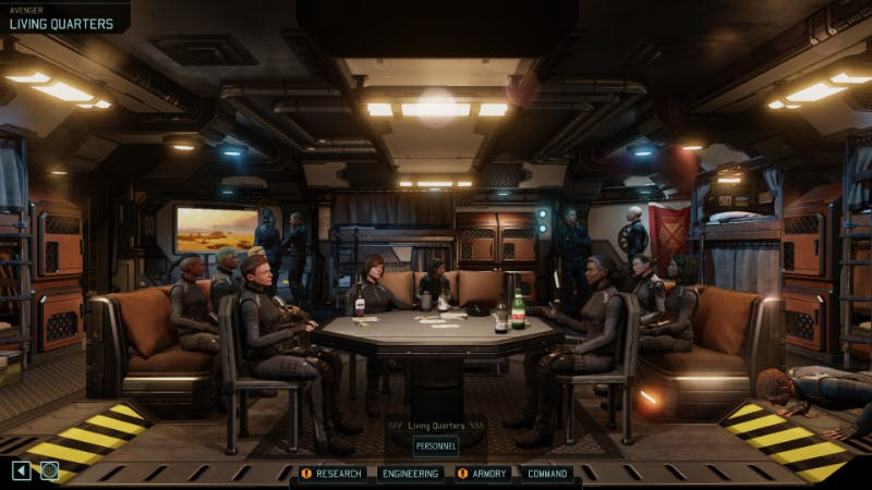 XCOM soldiers gather to celebrate victories, and mourn the loss of comrades.