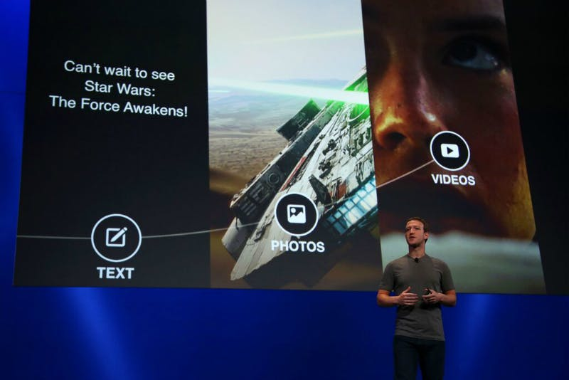 Mark Zuckerberg on stage at Oculus Connect 2.