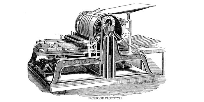 One-cylinder print press illustration
