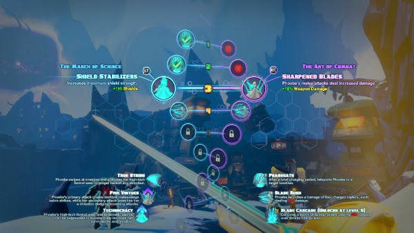 The helix leveling system menu.