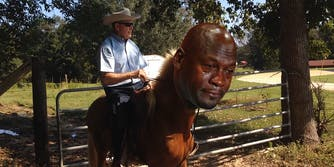 Roy Moore riding Sassy with Crying Jordan face