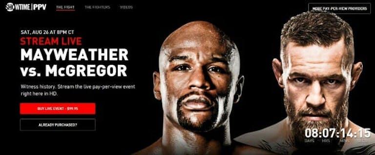Watch Conor McGregor vs Floyd Mayweather online via ShowtimePPV.com