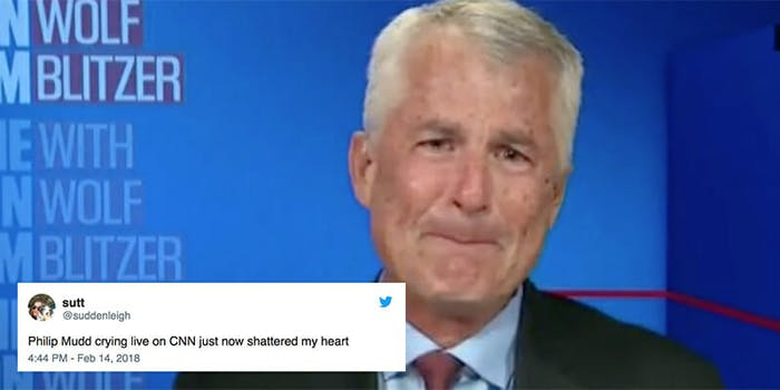 CNN analyst Philip Mudd broke down in tears during an interview about the school shooting in Parkland, Florida.