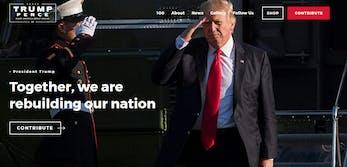 The homepage of https://www.donaldjtrump.com/.