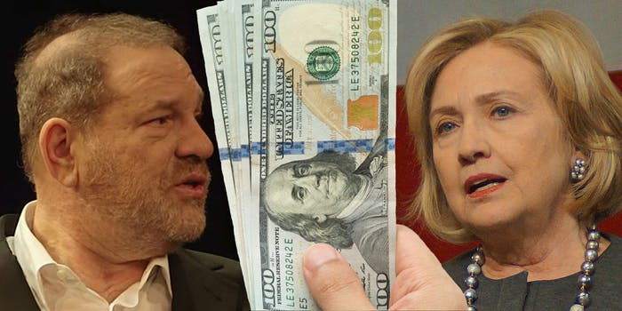 Harvey Weinstein and Hillary Clinton with stack of $100 bills between them