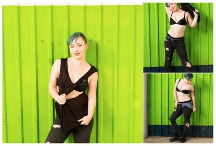 Photos of a model performing a strip tease.
