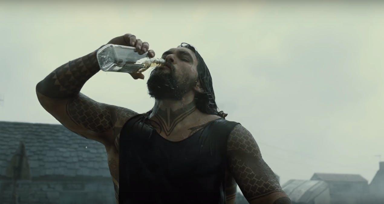 justice league movie trailer : Jason Momoa as Aquaman
