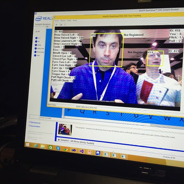 Intel RealSense face tracking