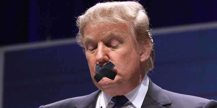 Donald Trump with tape over his mouth