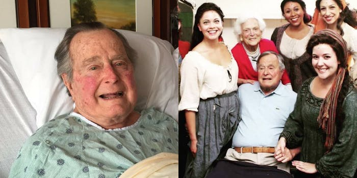George H.W. Bush alongside a photo of him with Jordana Grolnick