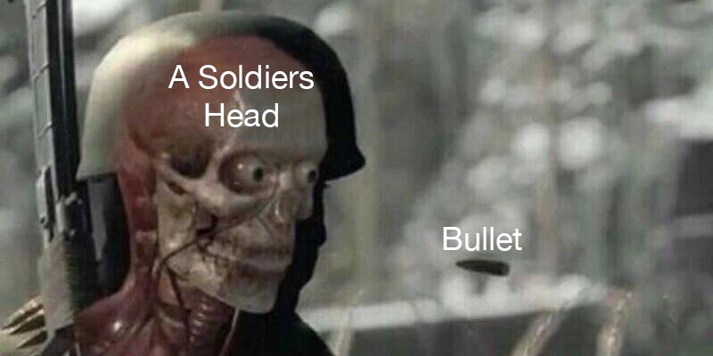 a soldier's head and a bullet