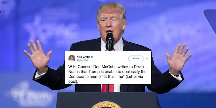 Trump delayed the release of the Democratic memo that's meant as a rebuttal to the controversial Republican document.