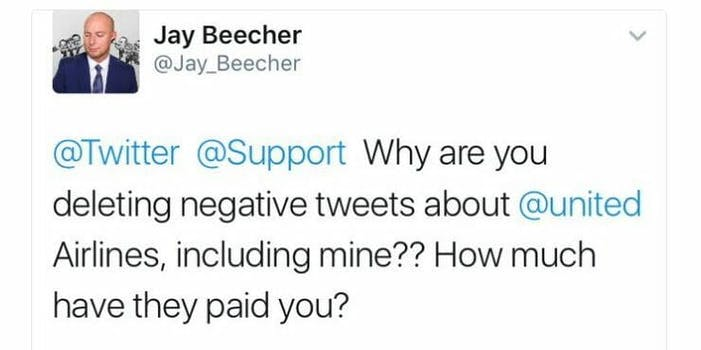 twitter deleting united tweets