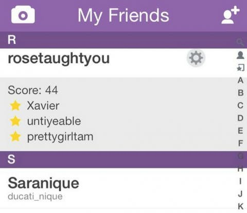 """Old Snapchat """"Best Friends"""" feature"""