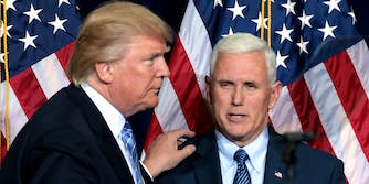 Donald Trump puts his hand on Mike Pence's shoulder