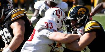 University of Indiana plays University of Iowa in football.