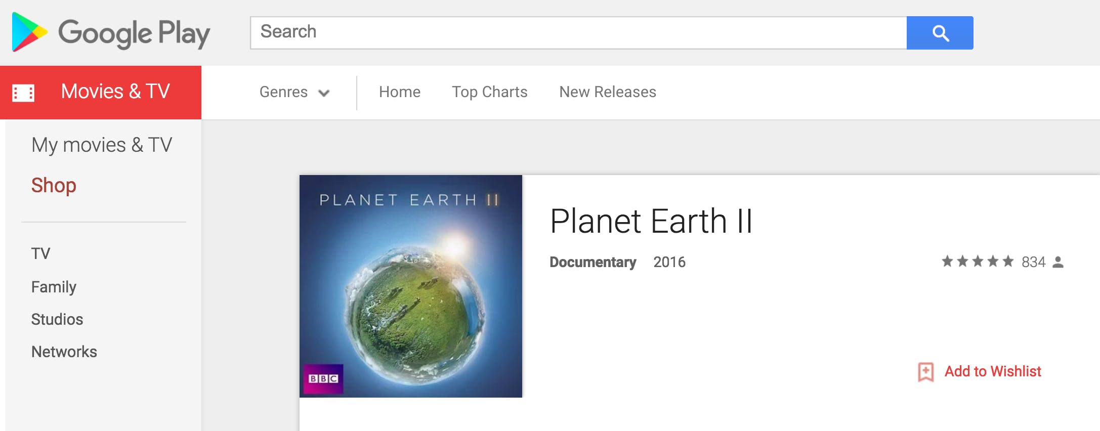 how to watch planet earth 2 : Google Play