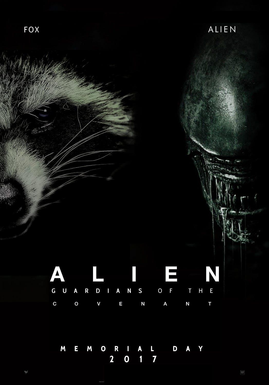rocket raccoon alien poster