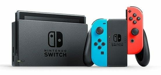 nintendo switch with rainbow joy-cons