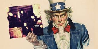 Uncle Sam holding Wu-Tang clan Once Upon A Time In Shaolin album