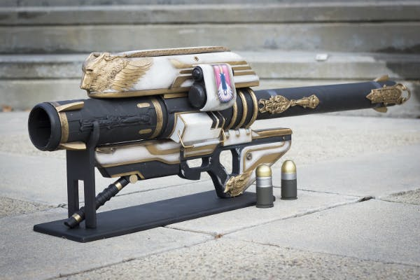 A replica of the dreaded rocket launcher Gjallarhorn, and two of its powerful Wolfpack rounds, from Destiny.