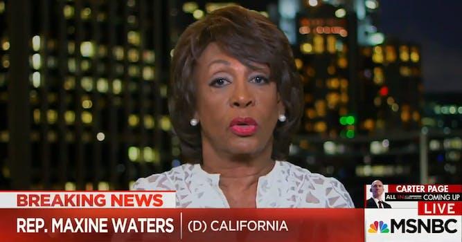 Rep. Maxine Waters speaks on MSNBC.