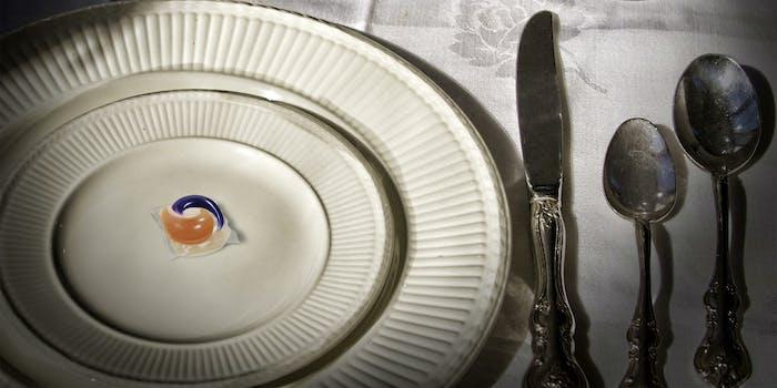Tide Pod on formal dinnerware
