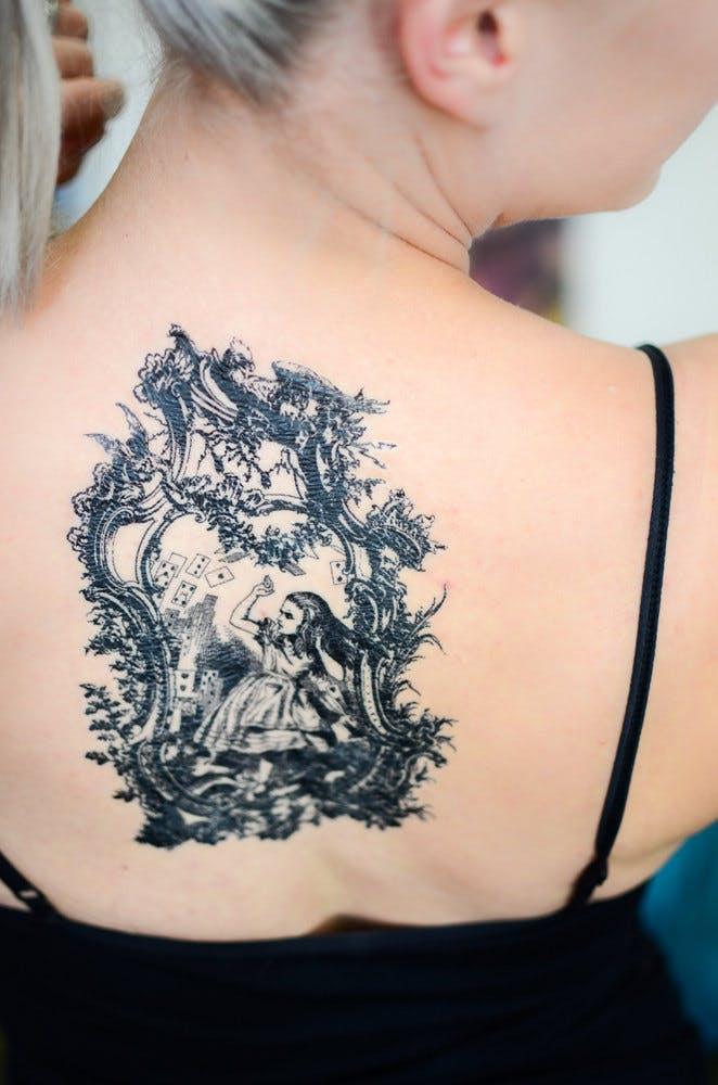 Alice in Wonderland temporary tattoo.
