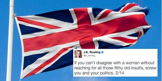 The UK flag with a tweet from J.K. Rowling superimposed
