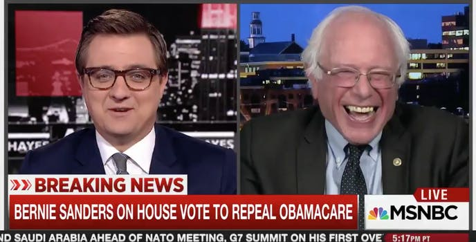 Bernie Sanders and Chris Hayes Laughing at Donald Trump