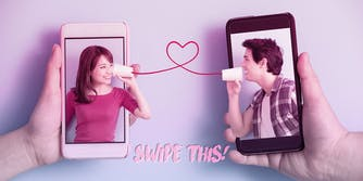 Couple talking to each other with cup and string with a heart in the middle, from one phone to another