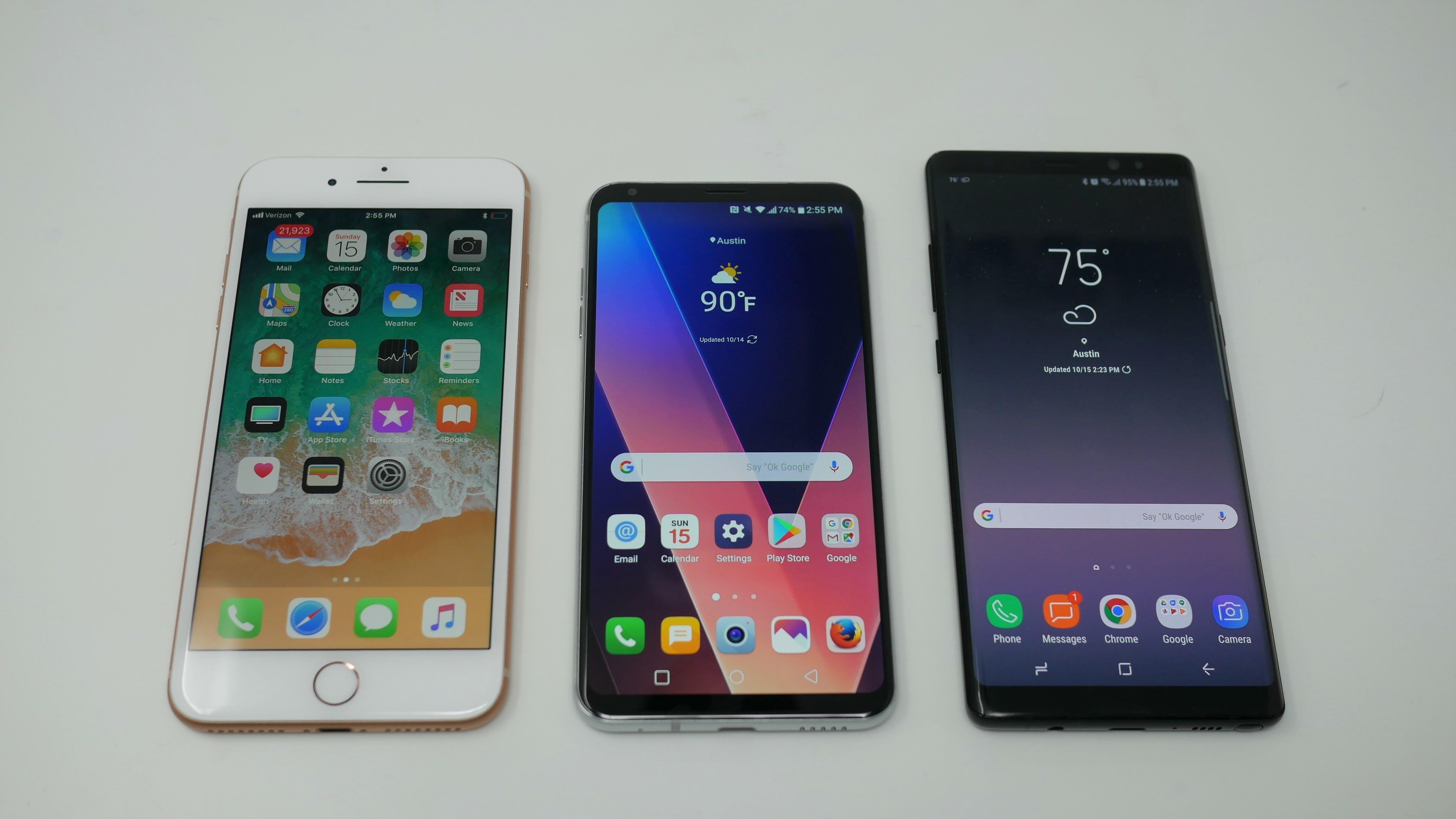 lg v30, iphone 8 plus, galaxy note 8