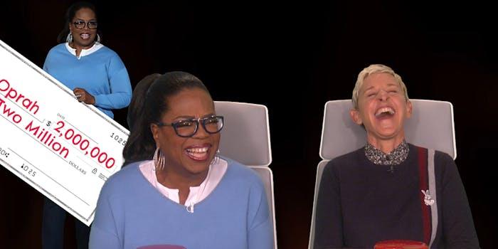 Oprah Winfrey and Ellen DeGeneres laughing