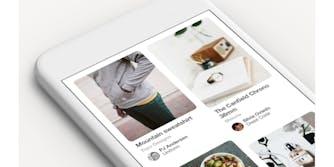 Pinterest app on white phone