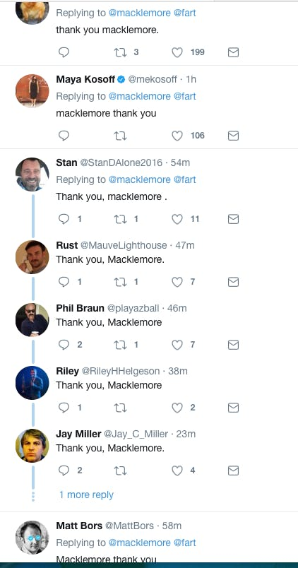 macklemore thank you tweets