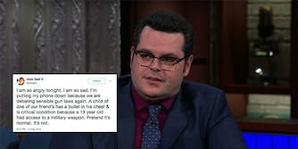 Josh Gad tweeted Thursday to say he was grieving the loss of his friend's child who died in the high school shooting in Parkland, Florida.