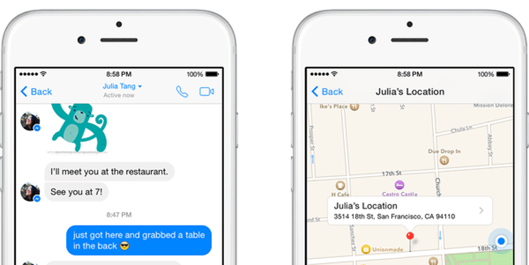 Facebook Messenger tips: location sharing on iPhone