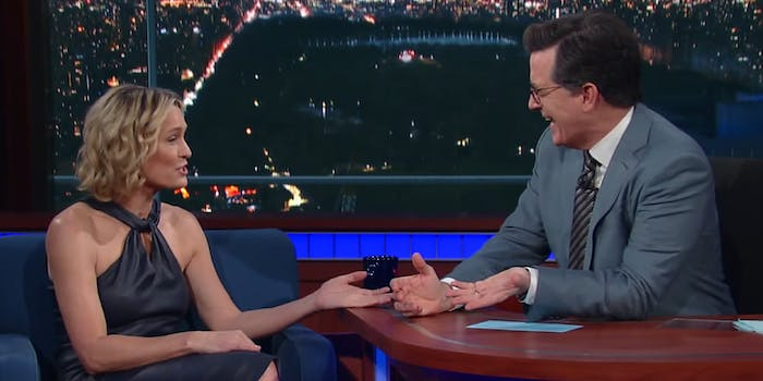Robin Wright and Stephen Colbert
