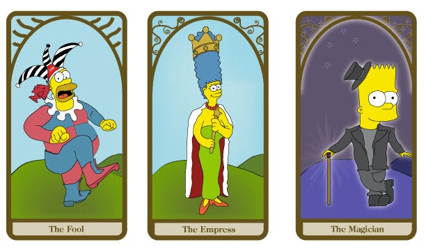 Detail from the Simpsons Tarot Deck by dustbean11, depicting the Simpsons family as cards of the Major Arcana tarot suite.