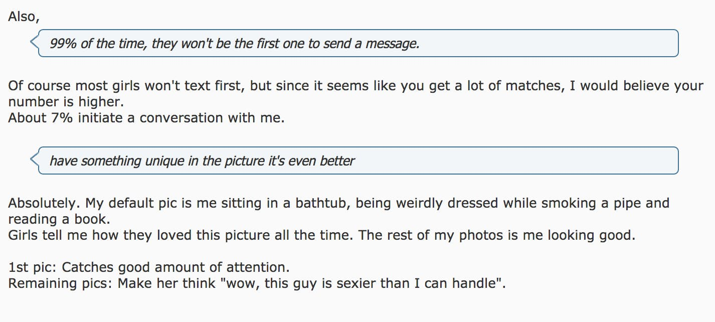 """""""My default pic is me sitting in a bathtub, being weirdly dressed."""""""