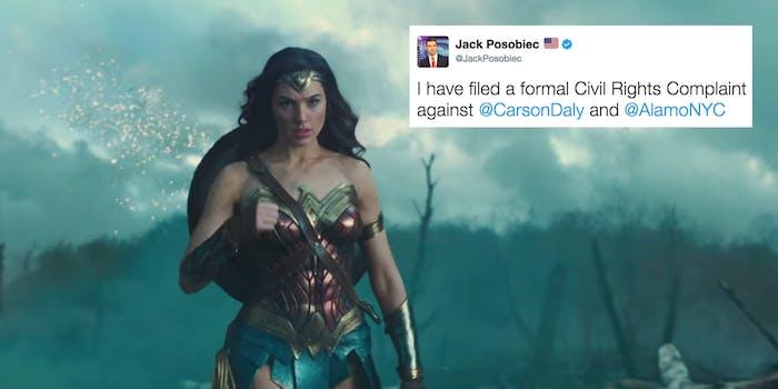 Tweet of Jack Posobiec's along with Wonder Woman trailer screengrab
