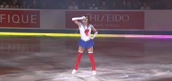 Adorable Sailor Moon figure skater does it again